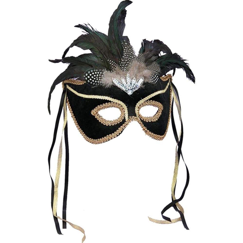 nero Venetian Mask with Feathers Fancy Dress