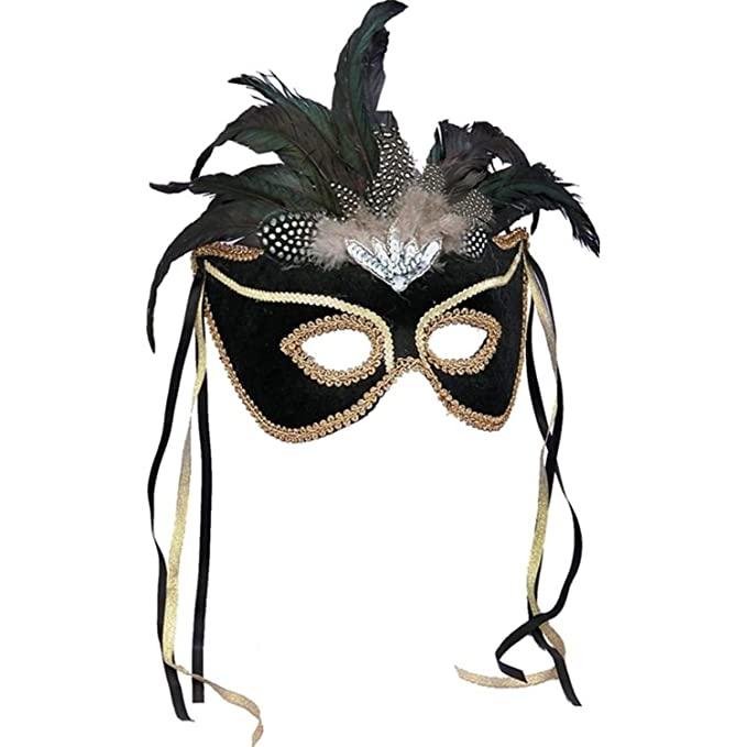 One Size Forum Deluxe Half Mask With Peacock Feathers Green