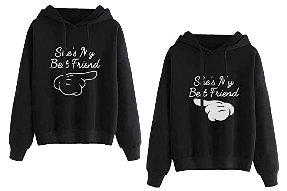 Best Friends Hoodies for Women Matching Sweaters BFF Pullover Teen Girls 2  Pcs(Black,