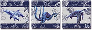 Navy Blue Ocean Canvas Wall Art Sea World Prints Turtle Whale Octopus Pictures for Bathroom Wall Decor 12 x 12 Inches 3 Pieces
