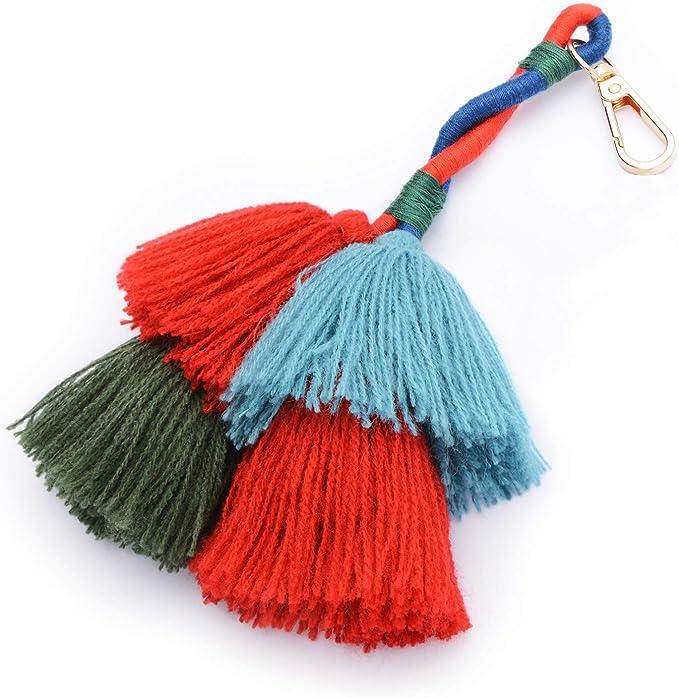 Amazon.com: Colorido Boho Pom Pom borla bolsa encanto ...