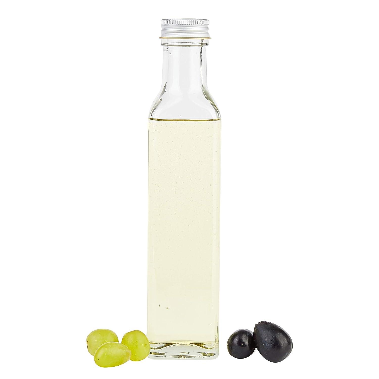 Silberne Schraubdeckel I edle Lik/örflasche I Schnapsflasche f/ür Alkohol /& Spirituosen I Flakon I Essig /& /Öl 6er Set Vierkantflasche Marasca 250 ml