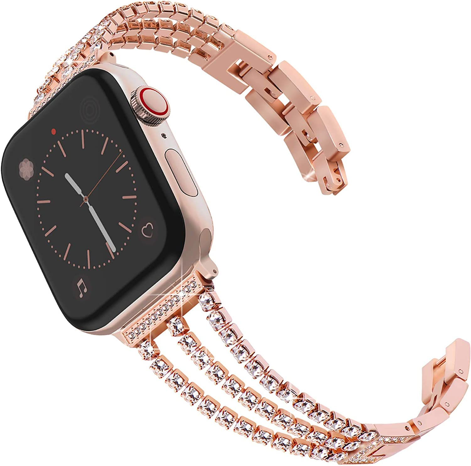 Surace Compatible with Apple Watch Bands 38mm Series 3 Women Bracelet Replacement for Apple Watch Bands Series 6 Series 5 Series 4 40mm Band Compatible with Apple Watch SE Band, Rose Gold