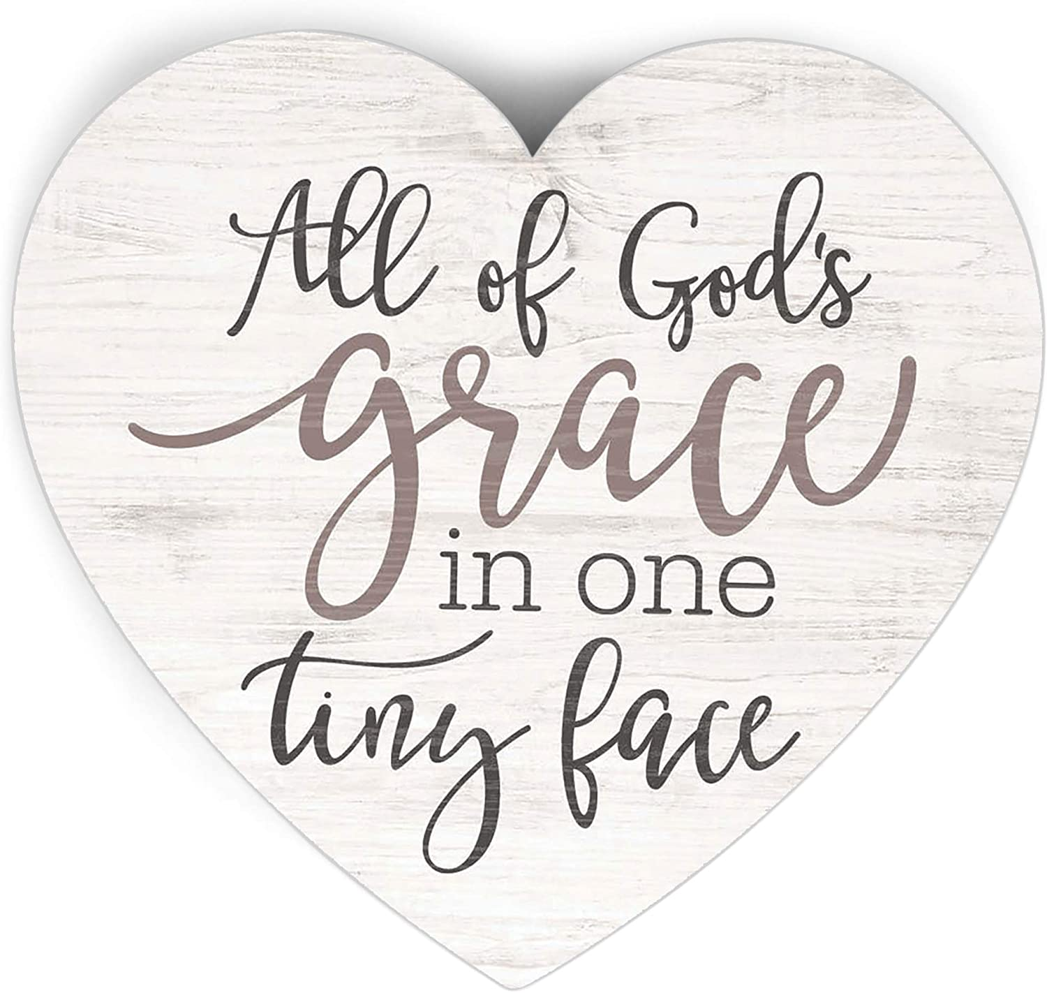 P. Graham Dunn God's Grace in Tiny Face Classic White 3.5 x 3.25 Pine Wood Small Shape Plaque