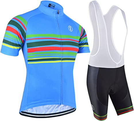Men Cycling Jersey Long Sleeve Bib Pant Kit Bicycle Bike Shirt Team Set Clothes