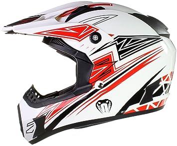 Qtech Viper Casco protector para motocross / todoterreno / enduro / MX - Negro / rojo