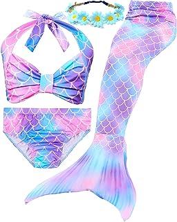 f469a403160 Garlagy 3 Pcs Girls Swimsuit Mermaid Tails for Swimming Bikini Set Bathing  Suit Swimmable Can Add