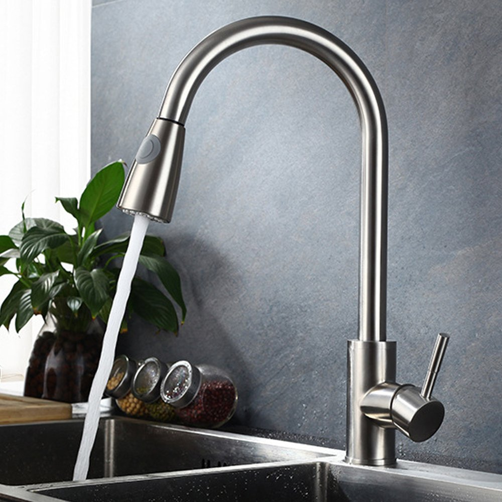 Neady Single Handle Kitchen Faucet with Pull Down Sprayer Stainless ...
