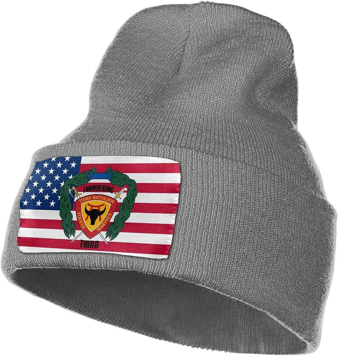 3rd Battalion 4th Marines Men/&Women Warm Winter Knit Plain Beanie Hat Skull Cap Acrylic Knit Cuff Hat