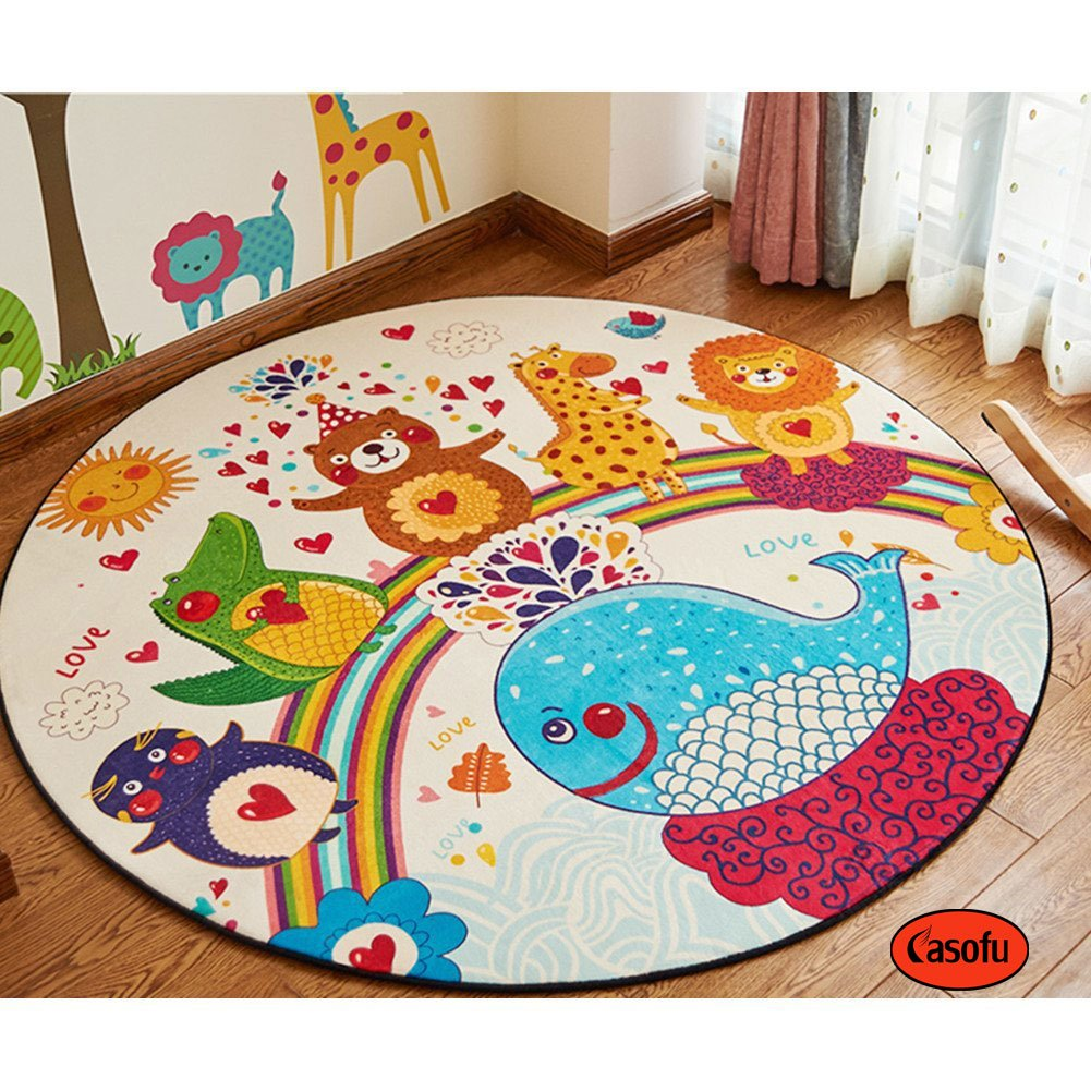 Casofu Cute Cartoon Animals Children Bedroom Carpet Living Dining Bathroom Mats for Baby Creeping Mat (Circle,47'',#02)
