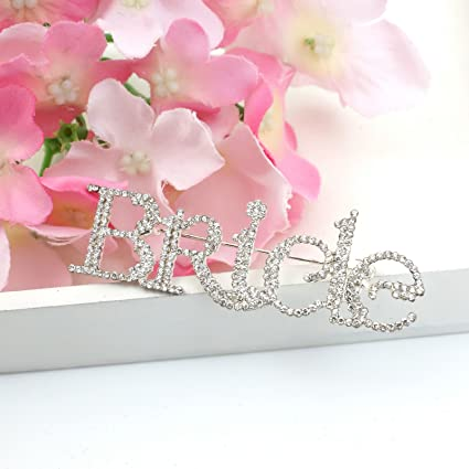 Bride Crystal Bride Name Tag Diamante Brooch Wedding Style Personalised Party  Gifts