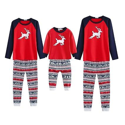 Pijamas Familiares a Juego de Navidad Ciervos Impresos Madre Padre Niño Moda Homewear Ropa de Dormir