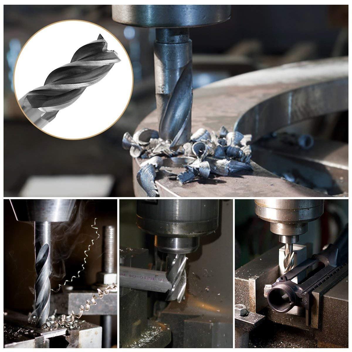 5Pcs End Mill Set, Yosoo HSS CNC 1/8'' End Mill Cutter Drill Bits 1/4'' Shank for Wood, Nylon, Aluminum, Steel,Titanium, 4 Flute Straight End Mill Set 1/8'' - 1/4''