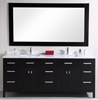 Design Element DEC088 London 78 Inch Double Sink Vanity Set
