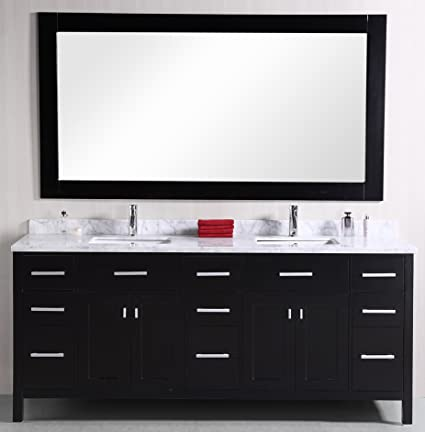 Magnificent Design Element Dec088 London Stanmark 78 Double Sink Vanity Set With Oak Wood Cabinet White Carrera Marble Top Sink And Mirror Espresso Beutiful Home Inspiration Truamahrainfo