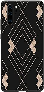 Okteq Case Cover for Huawei P30 Pro Shock Absorbing PC TPU Full Body Drop Protection Cover matte printed - gold black shape By Okteq