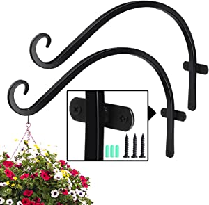WERSATILONE Planter Hooks for Outside Hanging Plants Baskets,2Pcs 12inchs Heavy Duty Solid Iron Wrought Brackets Stand,Outdoor Indoor Flower Fence Garden Bird Feeder Hanger