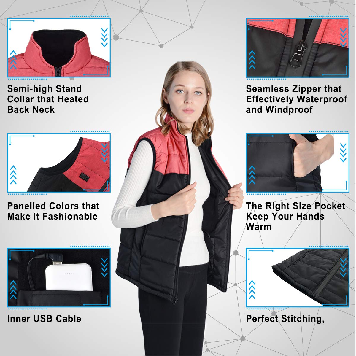 ZIIFULLHOU Womens Heated Vest Lightweight Thermal Jacket Sleeveless Heating Outdoor Coat