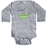 inktastic - Sweet Pea Long Sleeve Creeper 6 Months Heather Grey 2aa2