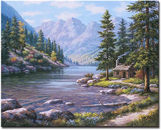 Digital Painting By Numbers Kit DIY Dense House Hand Painted Canvas Oil Picture