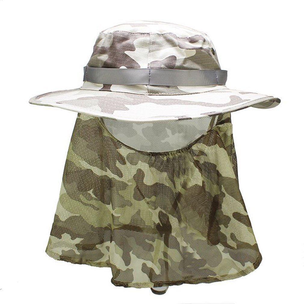 rnow Outdoor Packable Ampia Tesa Sole UV taglio Camouflage Pesca Secchio Cappelli CAPS, unisex Ragazzi Bambino Uomo donna, Khaki with Flap, Misura unica