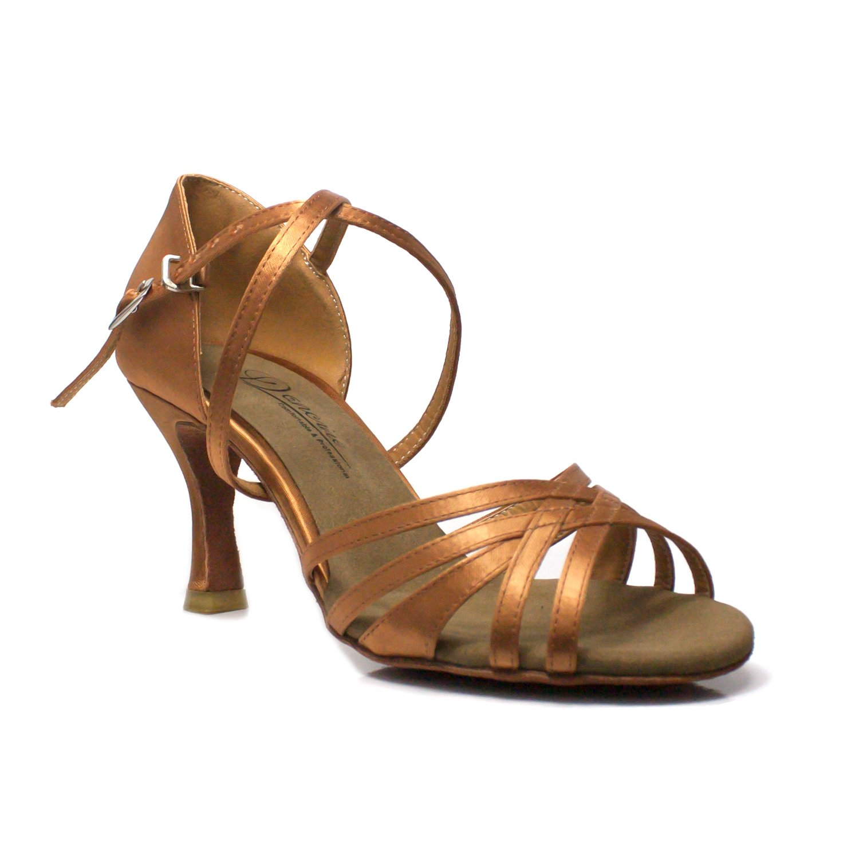 Dancine ''Fay Professional Latin Dance Shoes,Tan Satin,3 inches/7.5cm Heel, Latin Salsa Chacha Ballroom Dance Shoes (7 B(M) US)