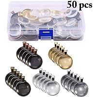 Outgeek 50PCS Pendant Tray Glass Cabochon Dome Alloy Photo Pendant for DIY