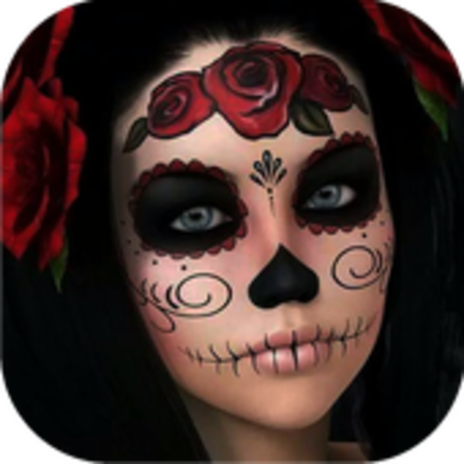 Day of the Dead Skull Makeup (Halloween Girls Hairstyles)