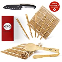 Sushi Making Kit - Original AYA Bamboo Kit with Sushi Chef Knife - Online Video Tutorials - 2 Rolling Mats - Paddle & Spreader - 5 Pairs of Chopsticks - 100% Natural Premium Bamboo