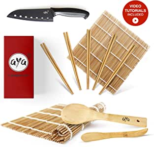 Sushi Making Kit - Original AYA Bamboo Kit with Sushi Chef Knife - Online Video Tutorials - 2 Rolling Mats - Paddle & Spreader - 5 Pairs of Chopsticks - 100% Natural Premium Mold-Resistant Bamboo Mats