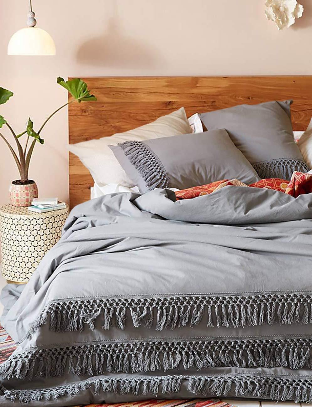 Flber Boho Tassel Duvet Cover King Cotton Bedding Grey,96in x104in