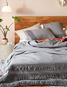 Flber Grey Cotton Tassel Duvet Cover,Full Queen,86inx90in