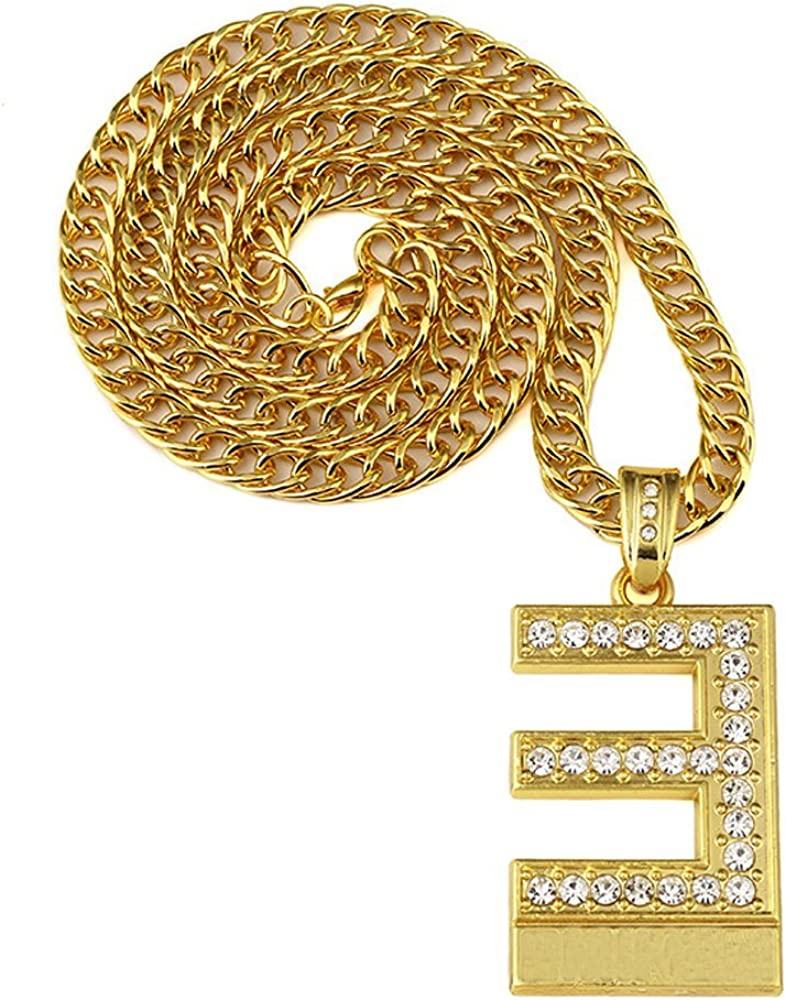 Grenf Fashion Trendy 18k Gold Silver Plated Mens Rhinestone Emoji 3 Cz Letter E Hip-hop Necklace with 3mm 31 Inch Cuban Chain Pendant