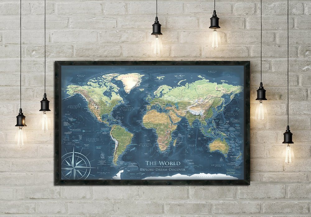 World Push Pin Map - Voyager 1 World Map - Features Elevation and Terrain modeling, Framed