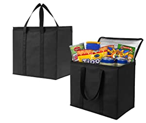 2 Pack Insulated Reusable Grocery Bag by VENO, Durable, Heavy Duty, Extra Large Size, Stands Upright, Collapsible, Sturdy Zipper, Made by Recycled Material, Eco-Friendly (BLACK, 2)