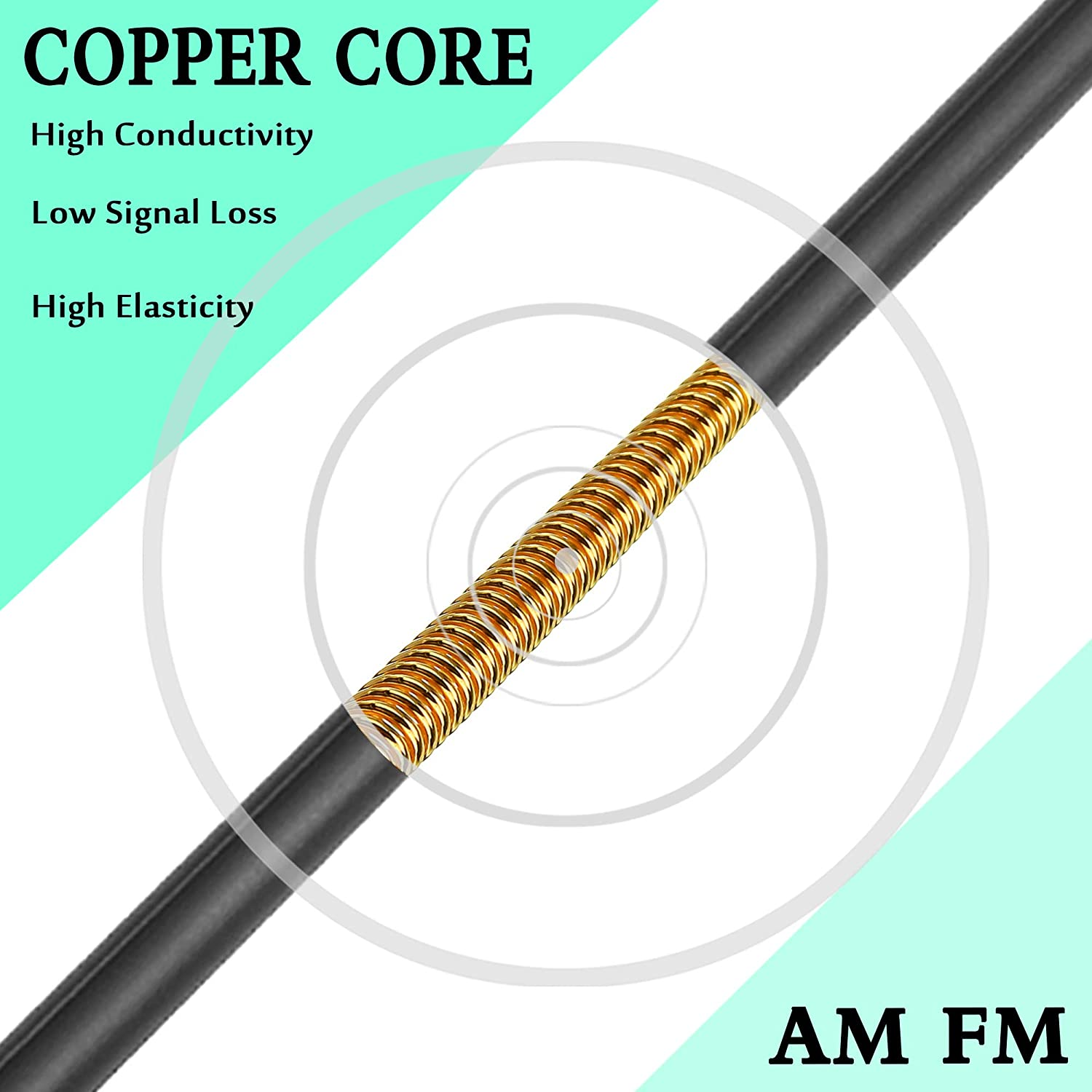 KSaAuto HOOH 9 Cool Vertical Lines Antenna for Harley Davidson 1998-2020 ┃ 13 Inch Car Wash Proof ┃ Unique Design to Improve Reception and Reduce Signal Loss Copper Core for AM FM