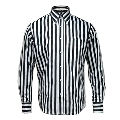 64cb5340e0a Relco Mens Striped Long Sleeve Button Down 60s Shirt White at Amazon ...