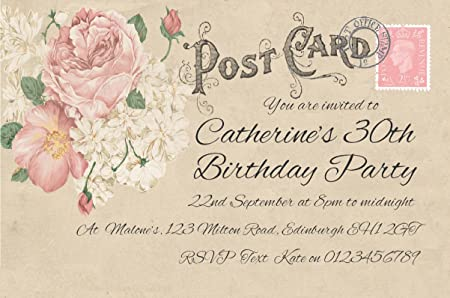 30 birthday invitations personalised for you vintage postcard