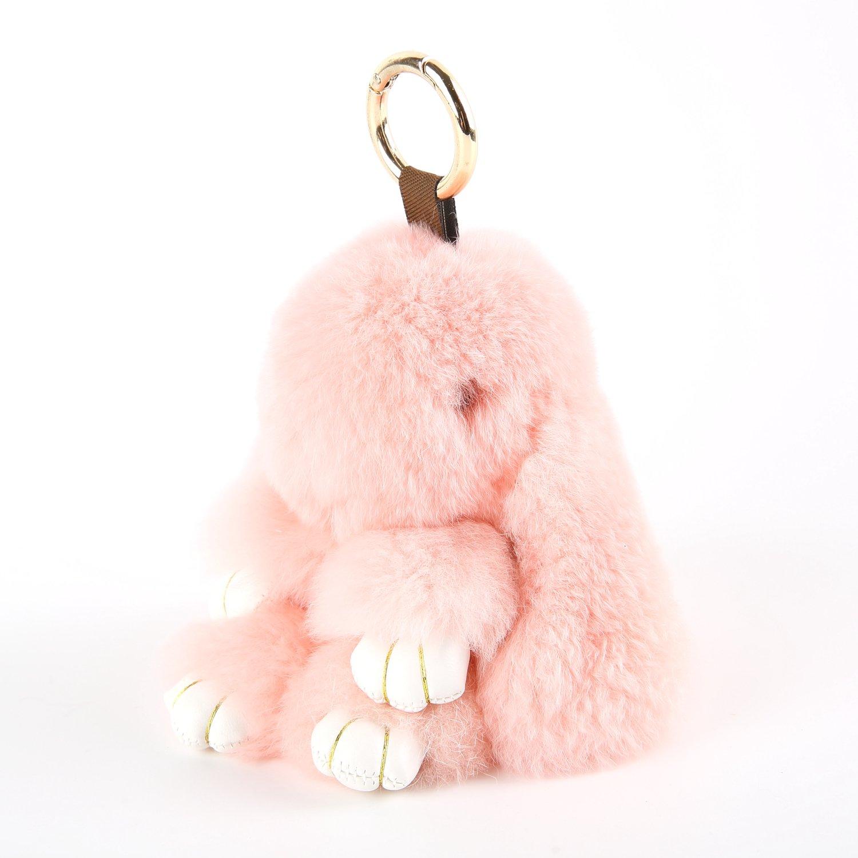 YISEVEN Stuffed Bunny Keychain Toy - Soft and Fuzzy Large Stitch Plush Rabbit Fur Key Chain - Cute Fluffy Bunnies Floppy Furry Animal Doll Gift for Girl Women Purse Bag Car Charm - Pink