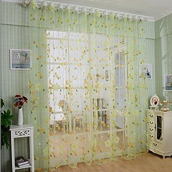 2er Kleine Blumen Druck Garn Gardine Wohnzimmer Vorhang, BxH 140x245cm, Grün