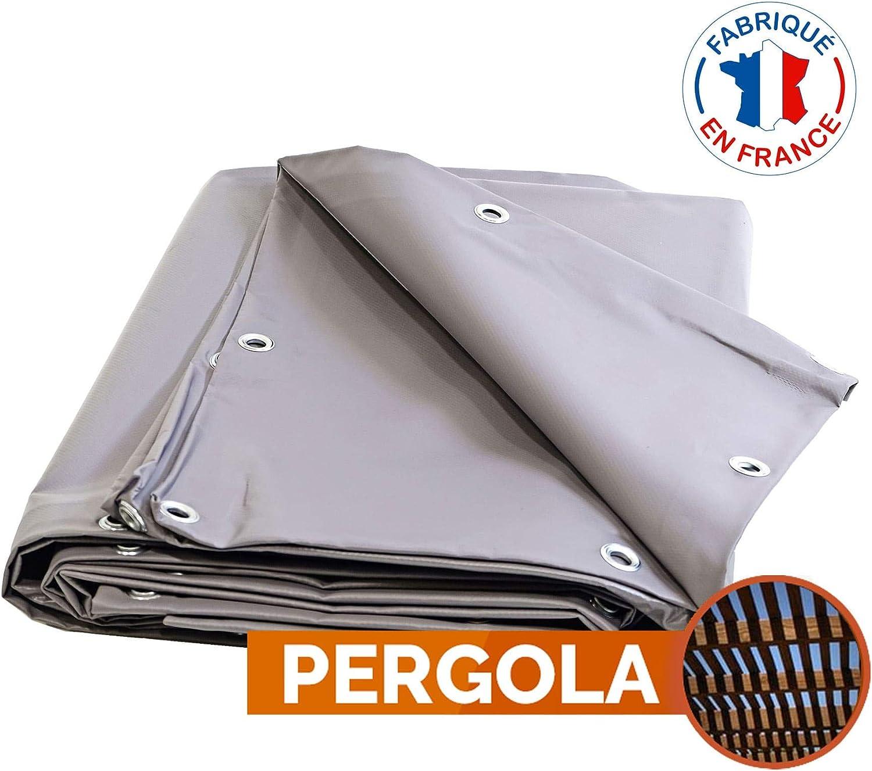 Toile pour pergola PVC 680 g/m² - 3 x 5 m - Bache PVC Grise ...
