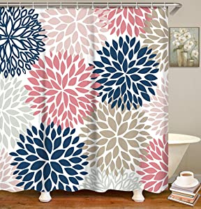 LIVILAN Dahlia Shower Curtain, Floral Fabric Bathroom Curtains with Hooks Flowers Bathroom Decor 72x72 Inches (Pink&Navy)