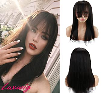 Amazon.com   Deewin Long Straight Human Hair Wigs with Bangs for Black Women  Glueless 100% Brazilian Human Hair Lace Front Wig with Baby Hair Natural  Black ... 3c1558b4b