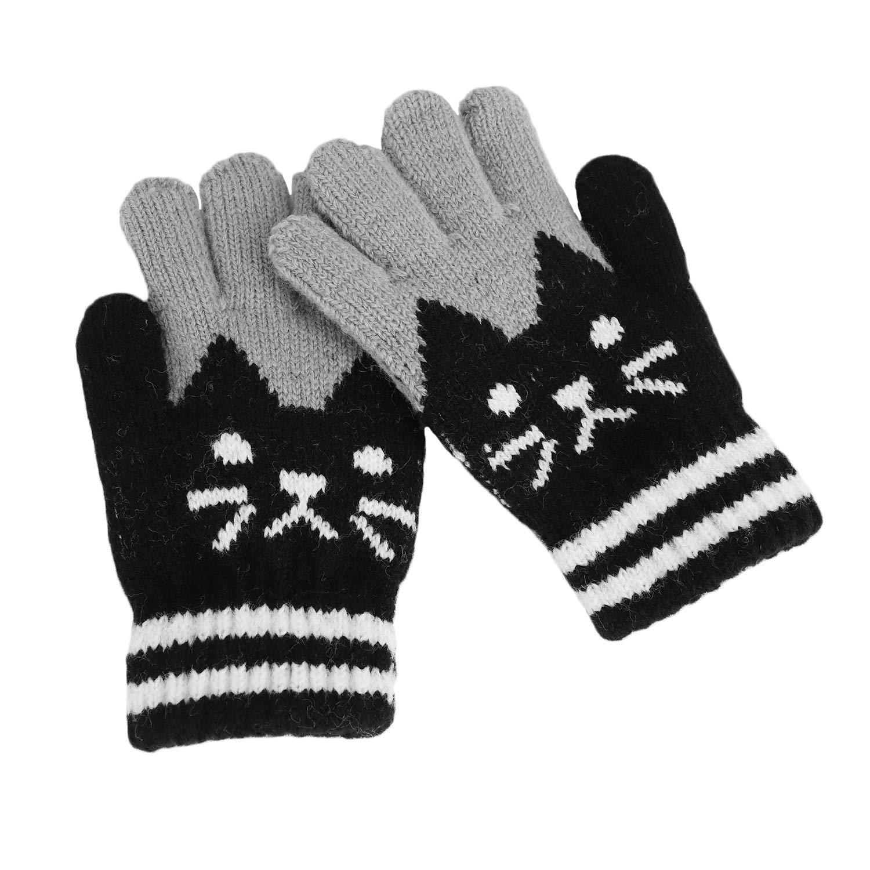 Kids Winter Soft Warm Knitted Gloves Mittens Cat Looking Thermal Full Finger Wrist Gloves Handwear Elastic Handwarmer Snowboard Skiing Winter Outdoor Costume Children 3-7 Years Old