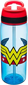 Zak Designs DC Comics Water Bottles, Tritan Straw, Wonder Woman
