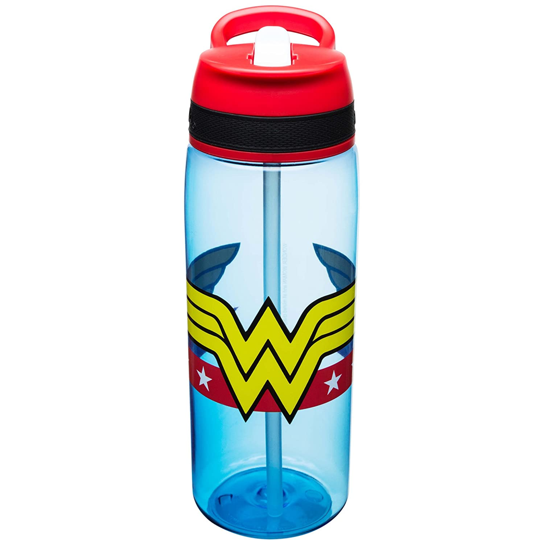 Zak Designs WWNA-P282-D-AMZ DC Comics Water Bottles, Tritan Straw, Wonder Woman