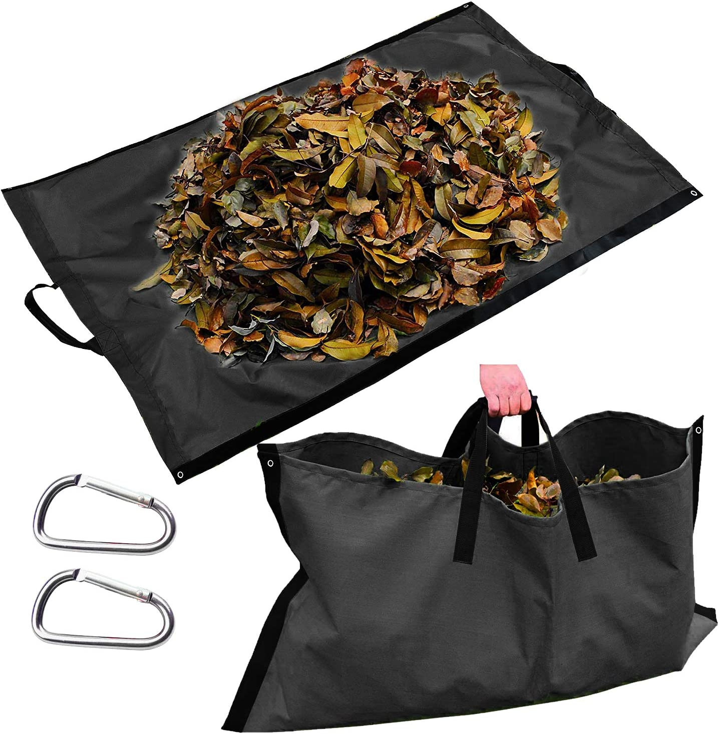 Leaf Bag for Collecting Leaves, Reusable Heavy Duty Gardening Bags, Yard Waste Tarp Garden Lawn Container Gardening Tote Bag-Tarp Trash