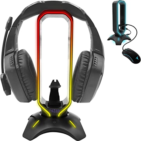 Amazon Com Tilted Nation Rgb Headset Stand And Gaming Headphone Display With Mouse Bungee Cord Holder With Usb 3 0 Hub For Wired Or Wireless Headsets For Xbox Ps4 Pc Computers Accessories