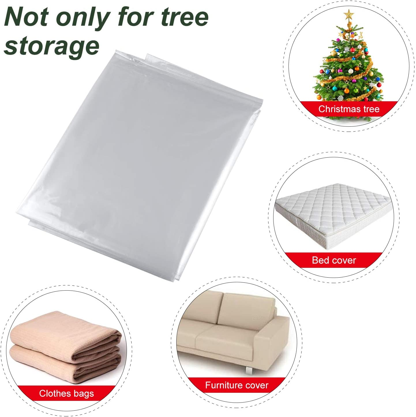 TUPARKA Christmas Tree Poly Storage Bag Large Size 110 x 31.5 for 7 ft Tree