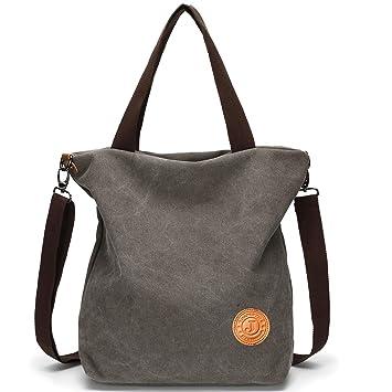 d2b48f565f46c JANSBEN Damen Canvas Handtasche Schultertasche Casual Multifunktionale  Umhängetaschen Groß für Arbeit Schule Shopper Lässige täglich (